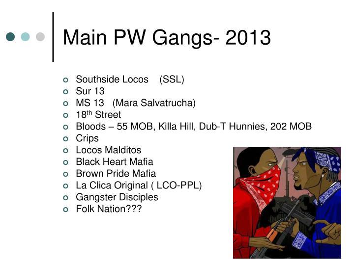 Main PW Gangs- 2013