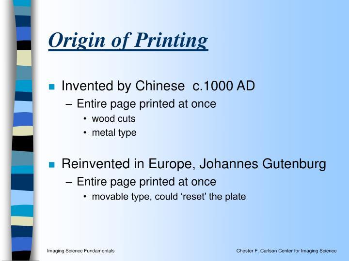 Origin of Printing