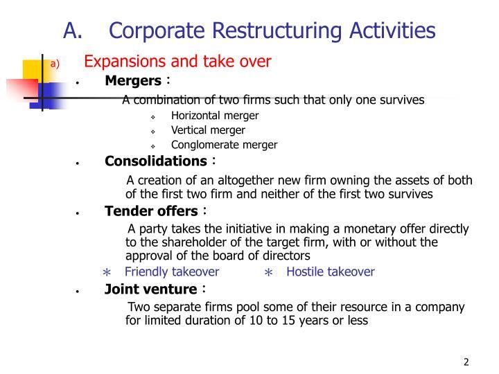 Corporate Restructuring Activities