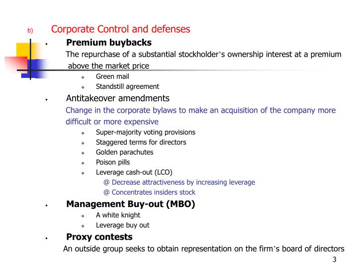 Corporate Control and defenses