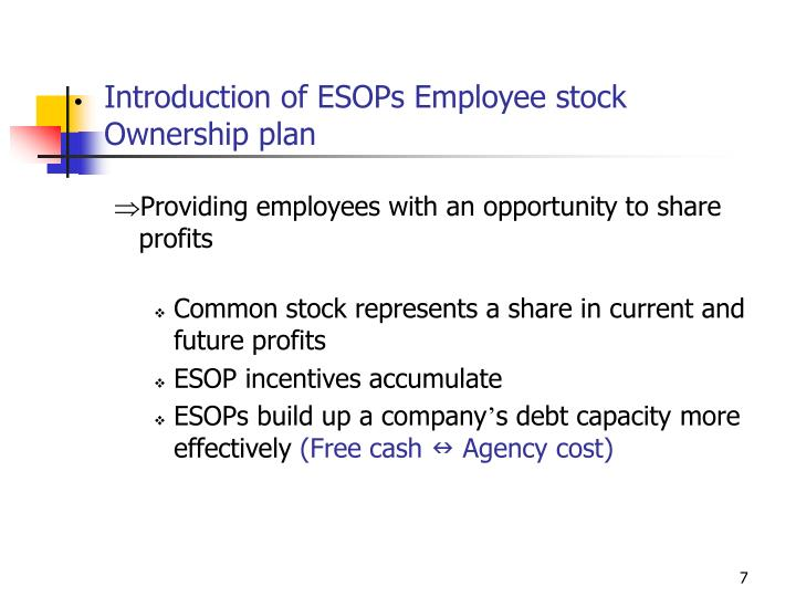 Introduction of ESOPs Employee stock Ownership plan