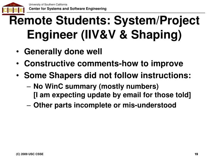 Remote Students: System/Project Engineer (IIV&V & Shaping)