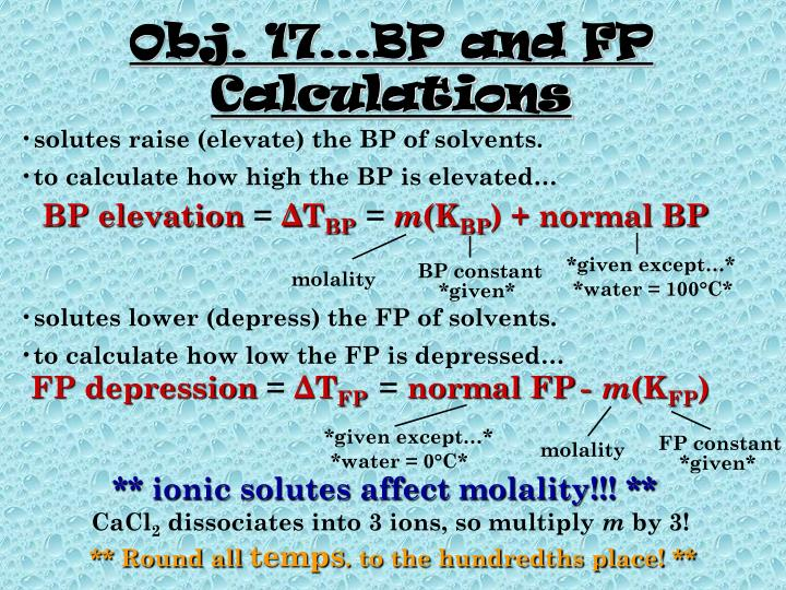 Obj. 17…BP and FP Calculations