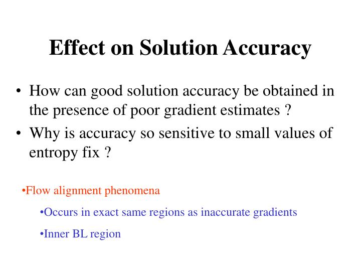Effect on Solution Accuracy