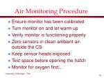 air monitoring procedure