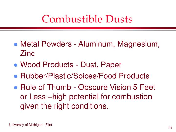 Combustible Dusts
