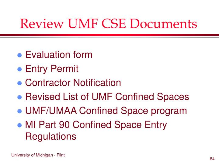 Review UMF CSE Documents