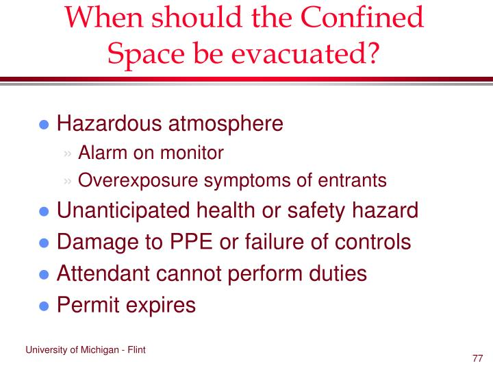 When should the Confined Space be evacuated?