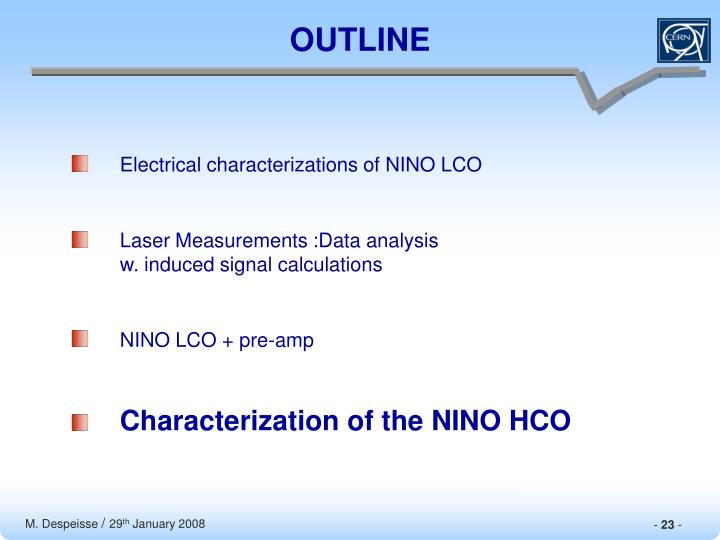 Electrical characterizations of NINO LCO