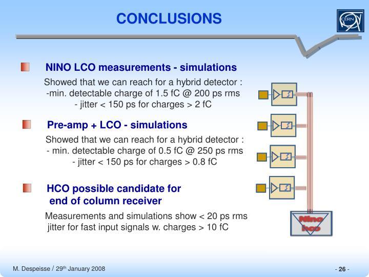 NINO LCO measurements - simulations