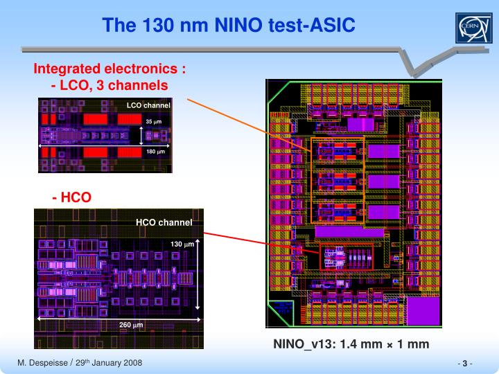 The 130 nm NINO test-ASIC