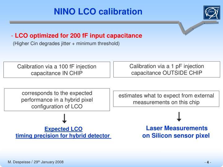 NINO LCO calibration
