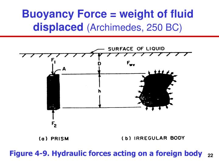 Buoyancy Force = weight of fluid displaced