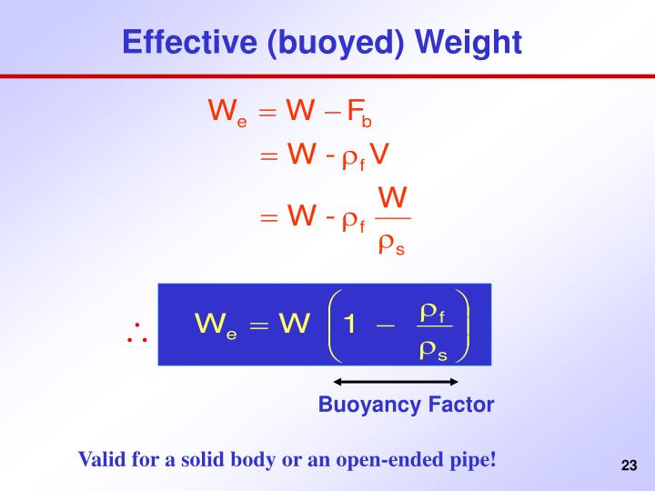 Effective (buoyed) Weight