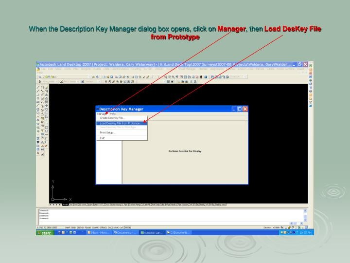 When the Description Key Manager dialog box opens, click on
