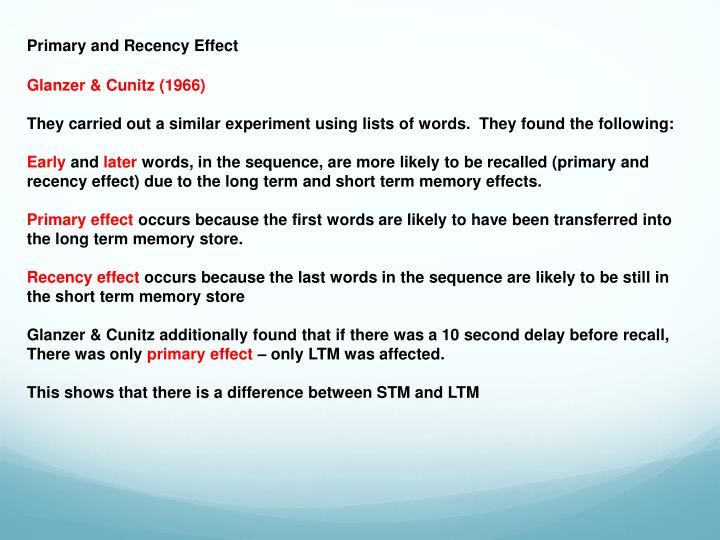 Primary and Recency Effect