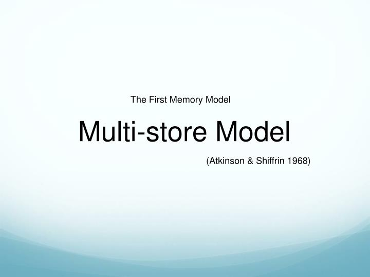 The First Memory Model