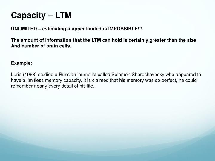Capacity – LTM