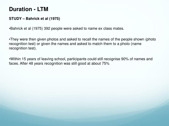 Duration - LTM