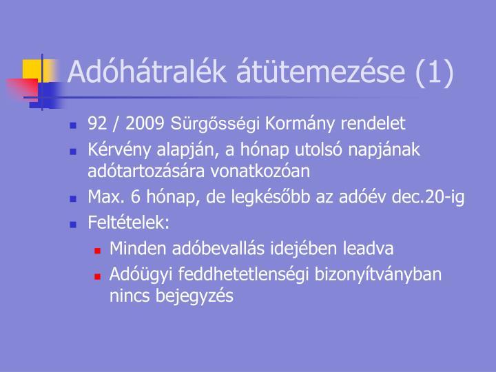 Adóhátralék átütemezése (1)