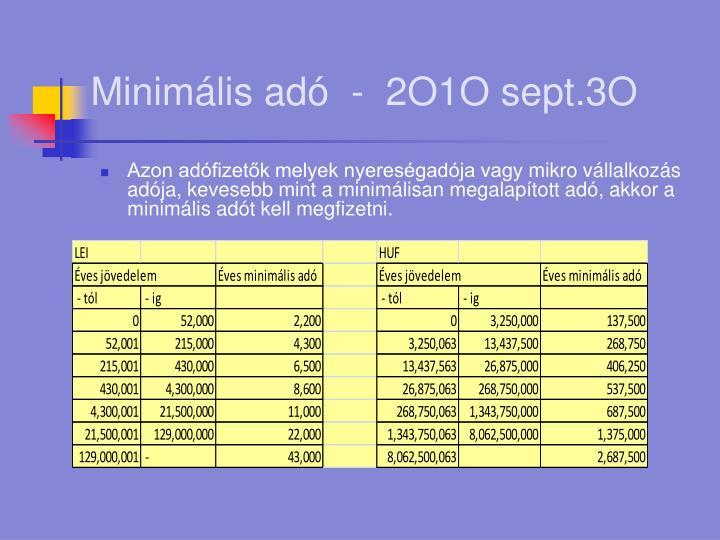 Minimális adó  -  2O1O sept.3O
