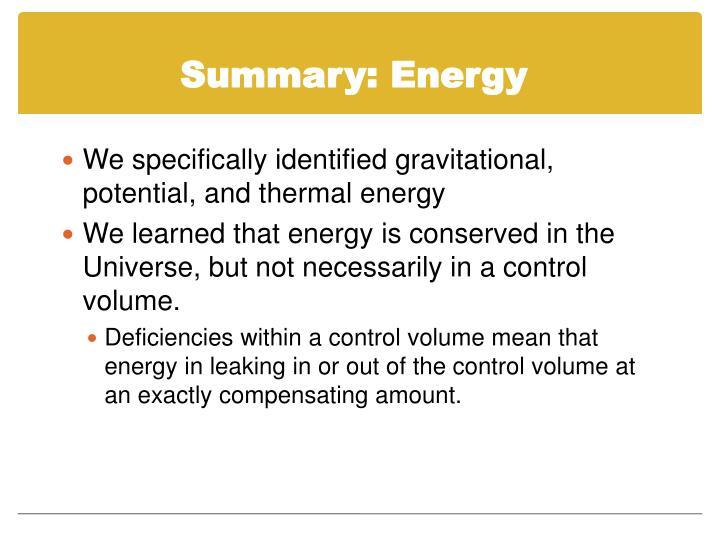 Summary: Energy