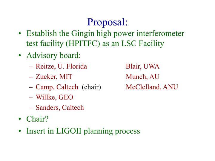 Proposal: