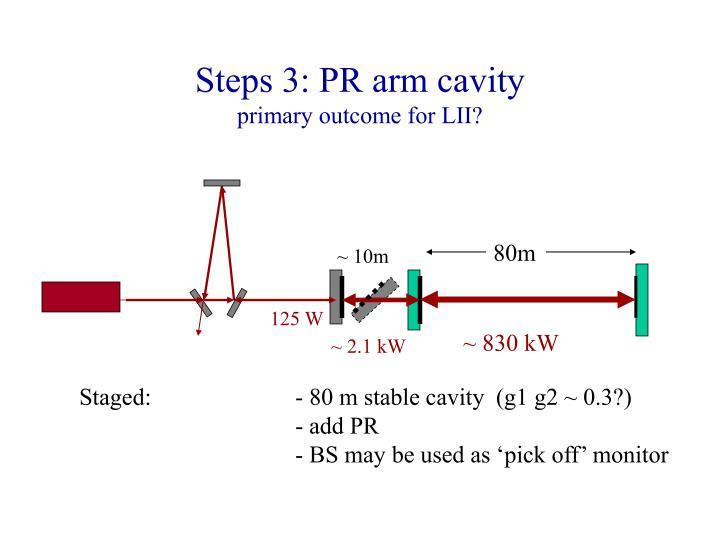 Steps 3: PR arm cavity