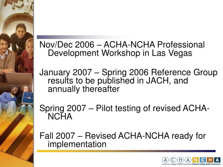 Nov/Dec 2006 – ACHA-NCHA Professional Development Workshop in Las Vegas
