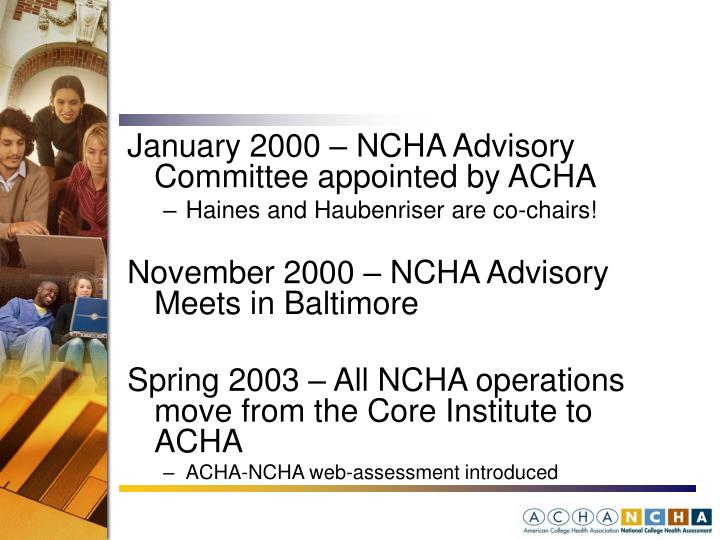 January 2000 – NCHA Advisory Committee appointed by ACHA