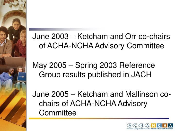 June 2003 – Ketcham and Orr co-chairs of ACHA-NCHA Advisory Committee