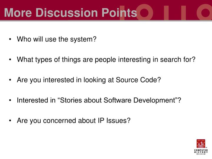 More Discussion Points