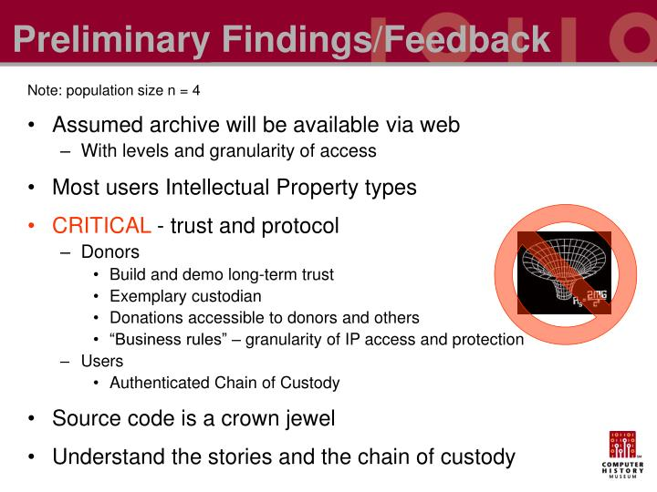 Preliminary Findings/Feedback