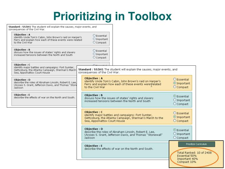 Prioritizing in Toolbox