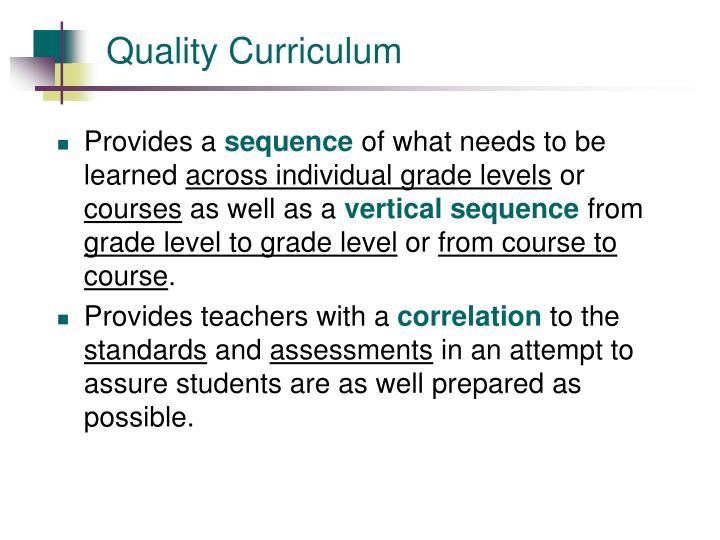 Quality Curriculum