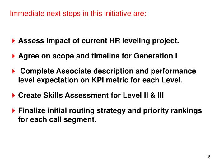 Immediate next steps in this initiative are: