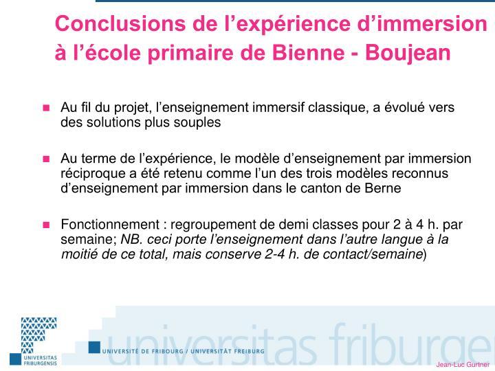 Conclusions de l'expérience d'immersion à l'école primaire de Bienne - Boujean