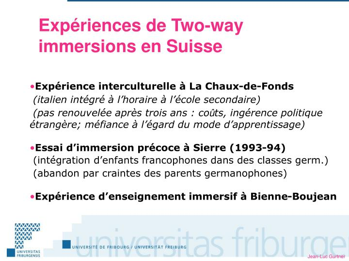 Expériences de Two-way immersions en Suisse