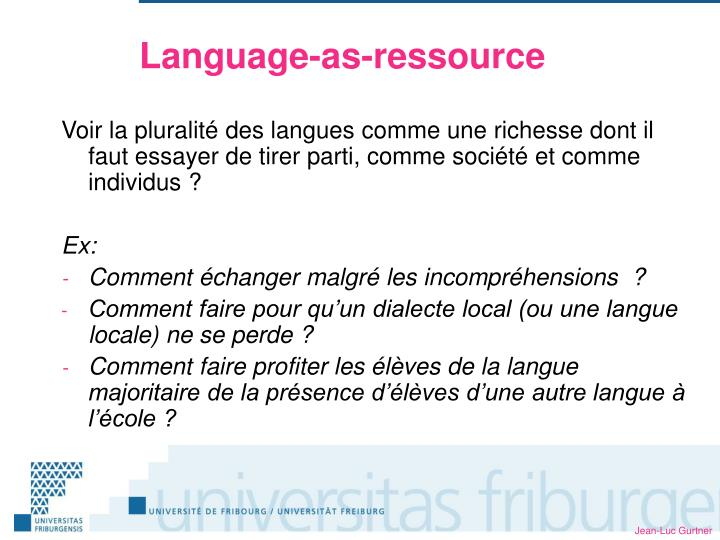 Language-as-ressource