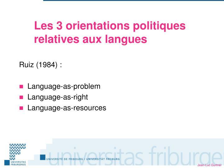 Les 3 orientations politiques relatives aux langues