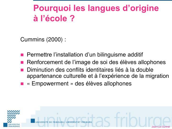 Pourquoi les langues d'origine à l'école ?
