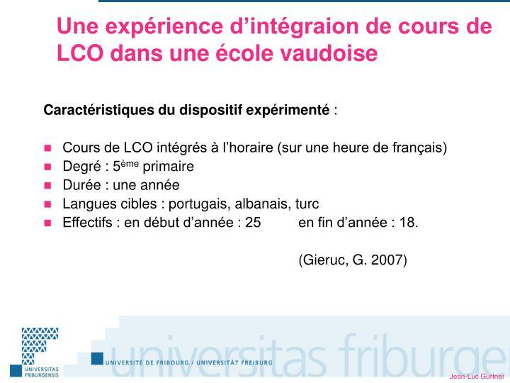 Une expérience d'intégraion de cours de LCO dans une école vaudoise