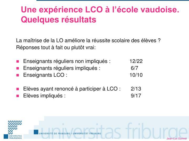 Une expérience LCO à l'école vaudoise.