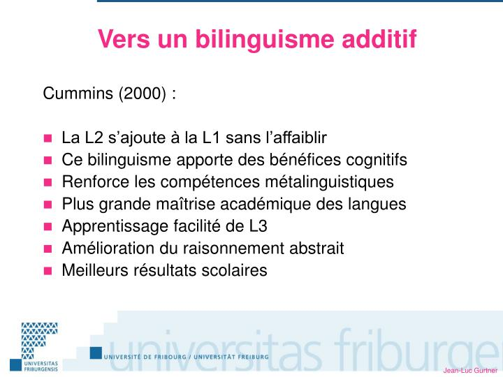 Vers un bilinguisme additif