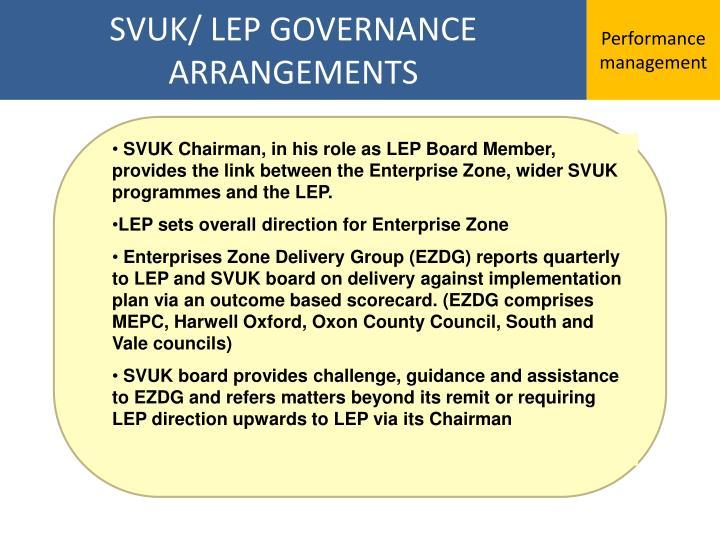 SVUK/ LEP GOVERNANCE ARRANGEMENTS