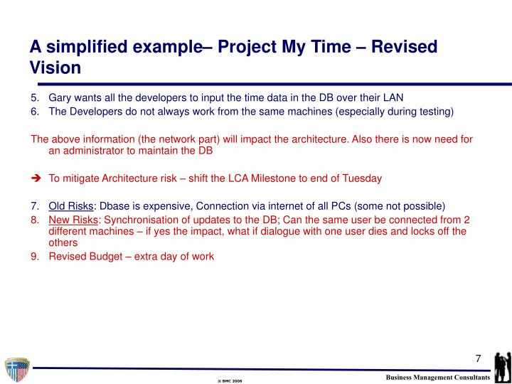 A simplified example– Project My Time – Revised Vision
