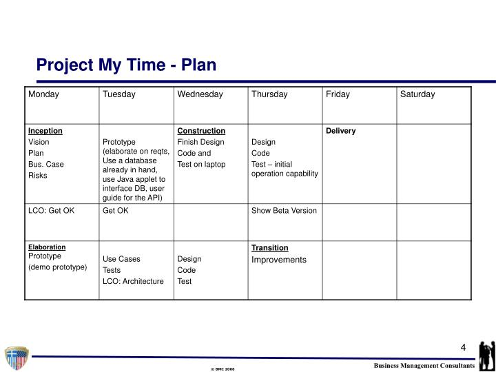 Project My Time - Plan