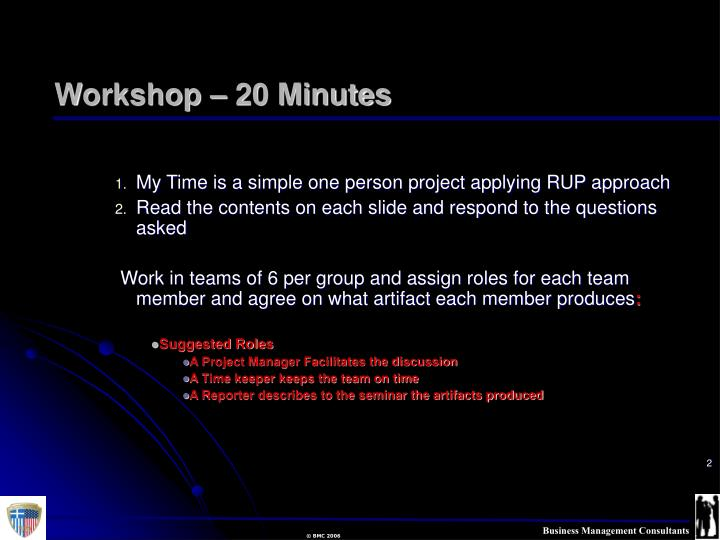 Workshop 20 minutes
