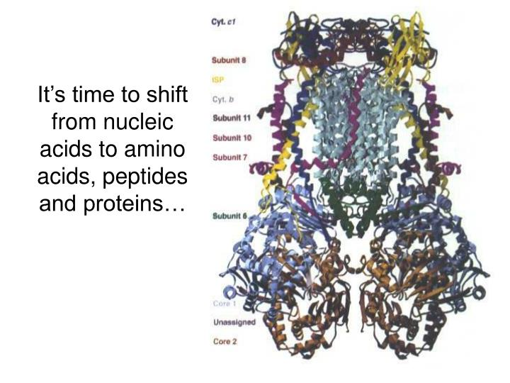 It's time to shift from nucleic acids to amino acids, peptides and proteins…