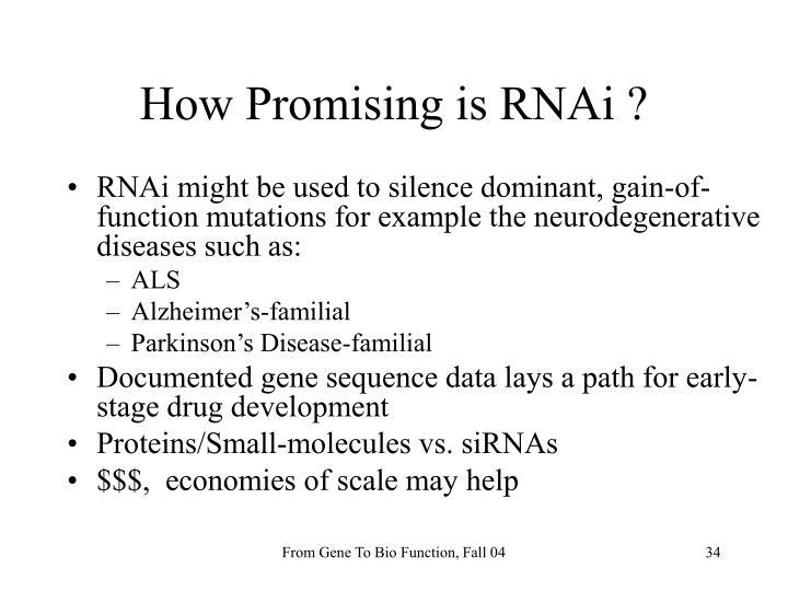 How Promising is RNAi ?